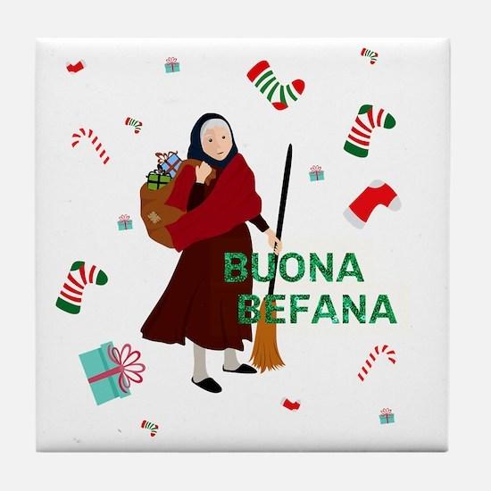 christmas Witch Befana Tile Coaster