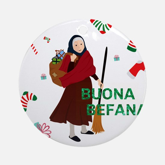 christmas Witch Befana Round Ornament