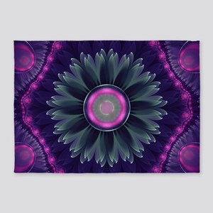 Beautiful Hot Pink and Gray Fractal 5'x7'Area Rug