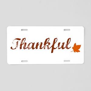 Thankful & Autumn Leaf Aluminum License Plate