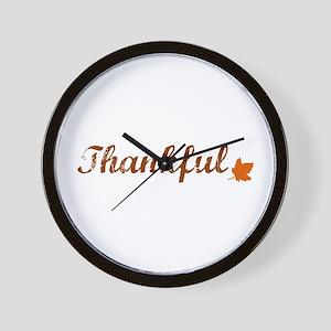 Thankful & Autumn Leaf Wall Clock