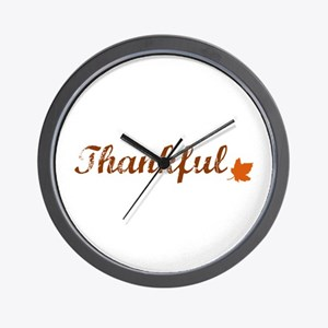 Thankful & Autumn Leaf Wall Clock