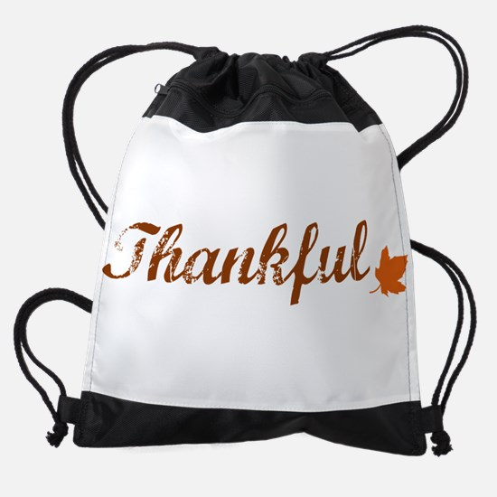 Thankful & Autumn Leaf Drawstring Bag