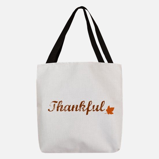 Thankful & Autumn Leaf Polyester Tote Bag