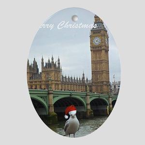 merry christmas seagul Ornament (Oval)