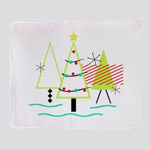 mid century modern Christmas trees Throw Blanket