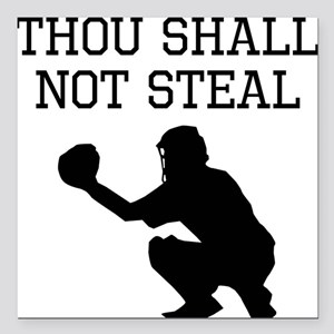 "Thou Shall Not Steal Square Car Magnet 3"" x 3"""