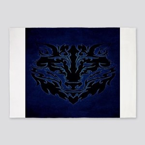 Tribal Wolf Blue 5'x7'Area Rug