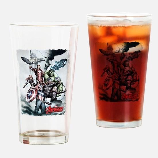 Avengers Sketch Drinking Glass