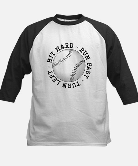 Hit Hard Run Fast Turn Left Baseball Jersey