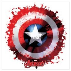 Cap Shield Spattered Wall Art Framed Print