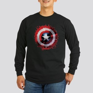 Cap Shield Spattered Long Sleeve Dark T-Shirt