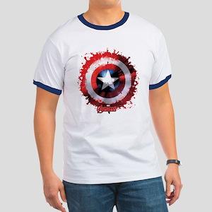 Cap Shield Spattered Ringer T