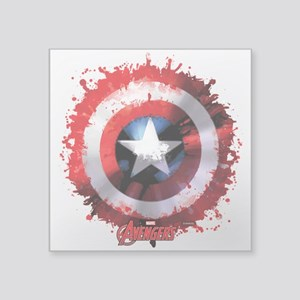 "Cap Shield Spattered Square Sticker 3"" x 3"""