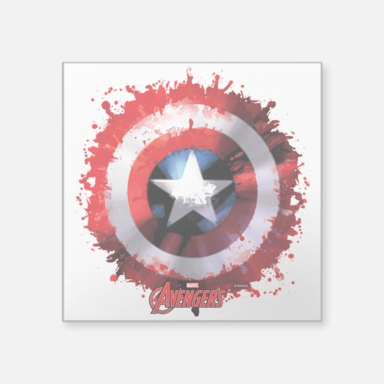 "Cap Shield Spattered Square Sticker 3"" x 3"""