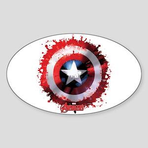 Cap Shield Spattered Sticker (Oval)