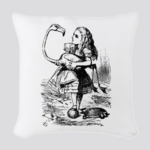 Alice with Flamingo Woven Throw Pillow
