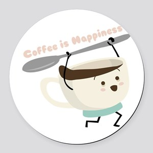 Coffee Is Happiness Round Car Magnet