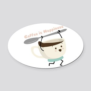 Coffee Is Happiness Oval Car Magnet
