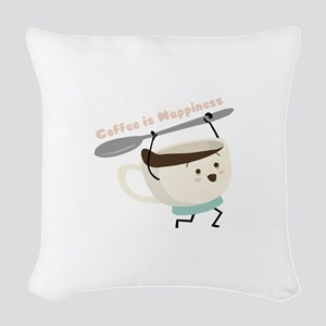 Coffee Is Happiness Woven Throw Pillow