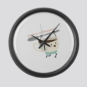 Coffee Is Happiness Large Wall Clock