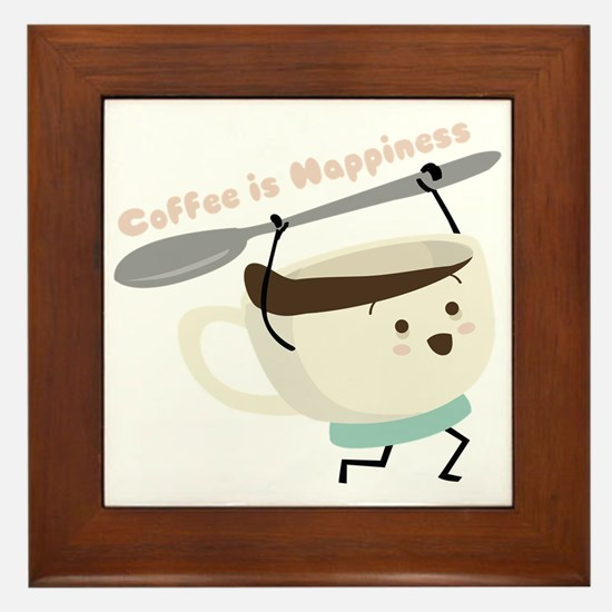 Coffee Is Happiness Framed Tile