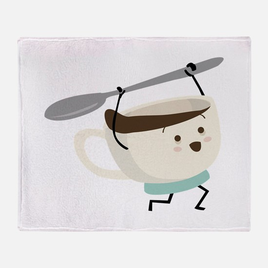 Happy Coffee Cup Throw Blanket