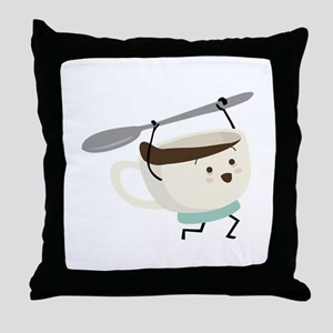 Happy Coffee Cup Throw Pillow