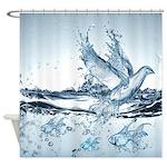 Water Splash Bird And Fish Shower Curtain