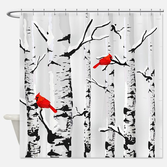 Winter Birch Trees And Cardinals Shower Curtain