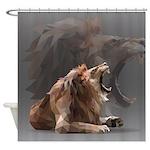 Geometric Lion Shower Curtain