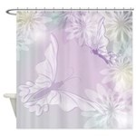 White Butterfly Floral 2 Shower Curtain