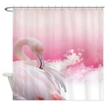 Pink Flamingo And Feathers Shower Curtain