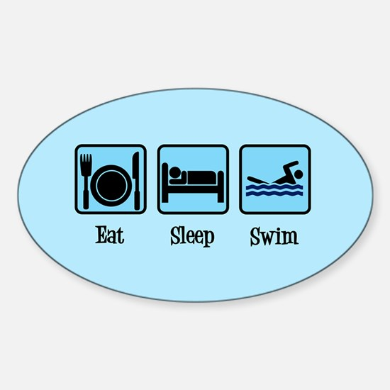 Eat Sleep Swim Sticker (Oval)