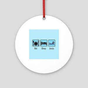 Eat Sleep Swim Round Ornament