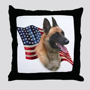 Malinois Flag Throw Pillow