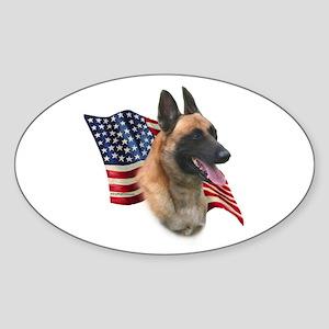 Malinois Flag Oval Sticker