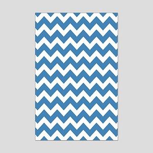 Steel Blue and White Chevron Mini Poster Print
