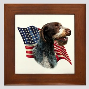 Wirehaired Flag Framed Tile