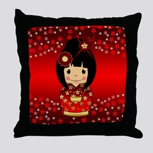 Kokeshi Doll In Red And Gold Throw Pillow