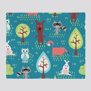 Woodland Animals Throw Blanket