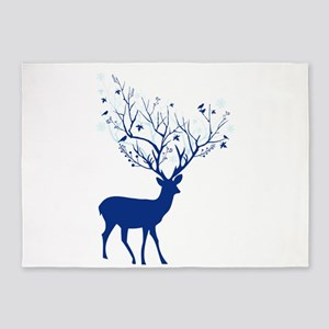 Deer with tree antlers 5'x7'Area Rug