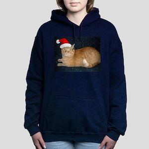 Christmas Orange Tabby Cat Women's Hooded Sweatshi