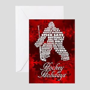 Hockey Goalie Typography Xmas (pk Greeting Cards