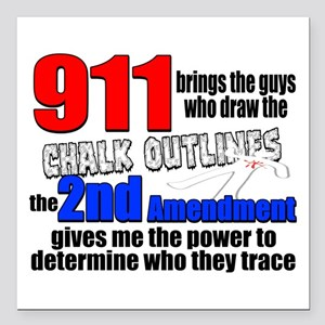 "911 Chalk Outlines Square Car Magnet 3"" x 3"""