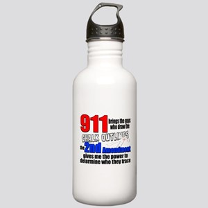 911 Chalk Outlines Water Bottle