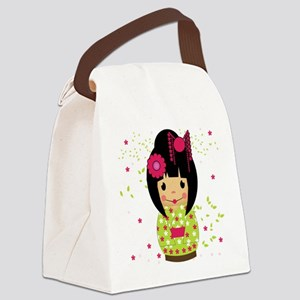 Kokeshi Doll In Pink And Green Canvas Lunch Bag