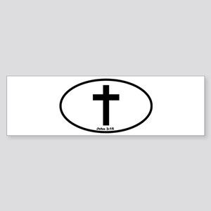 The Cross Oval Bumper Sticker