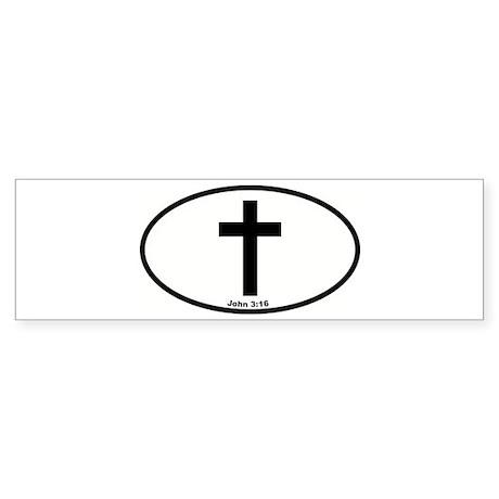 The Cross Oval Bumper Sticker
