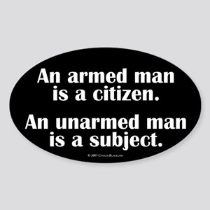 Armed Man Oval Sticker